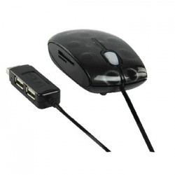 Optical mouse with card reader and USB hub